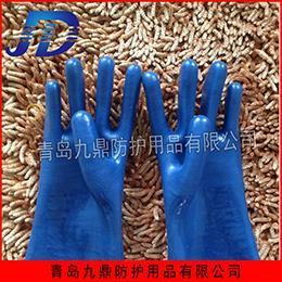 pvc蓝磨砂防滑工业劳保手套批发防水防油防化耐磨耐用低价直销